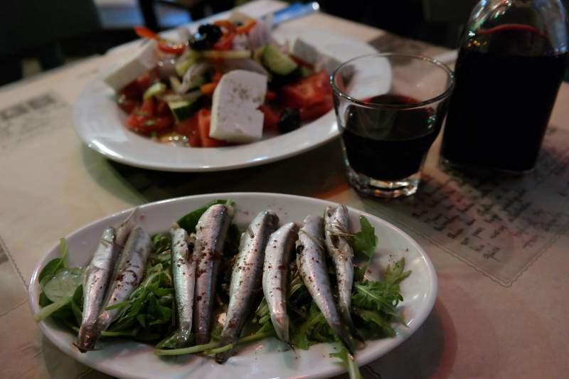 Abends in Ladadika essen, Thessaloniki